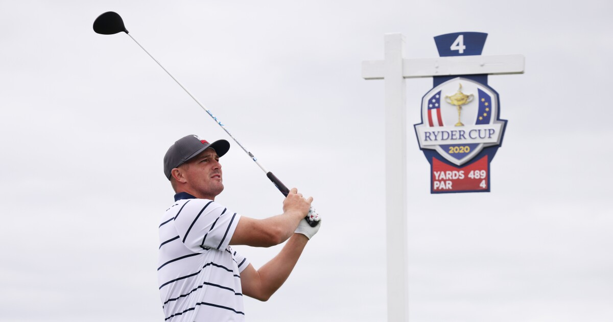 Brooks Koepka and Bryson DeChambeau chat on driving range at Ryder Cup - RyderCup.com