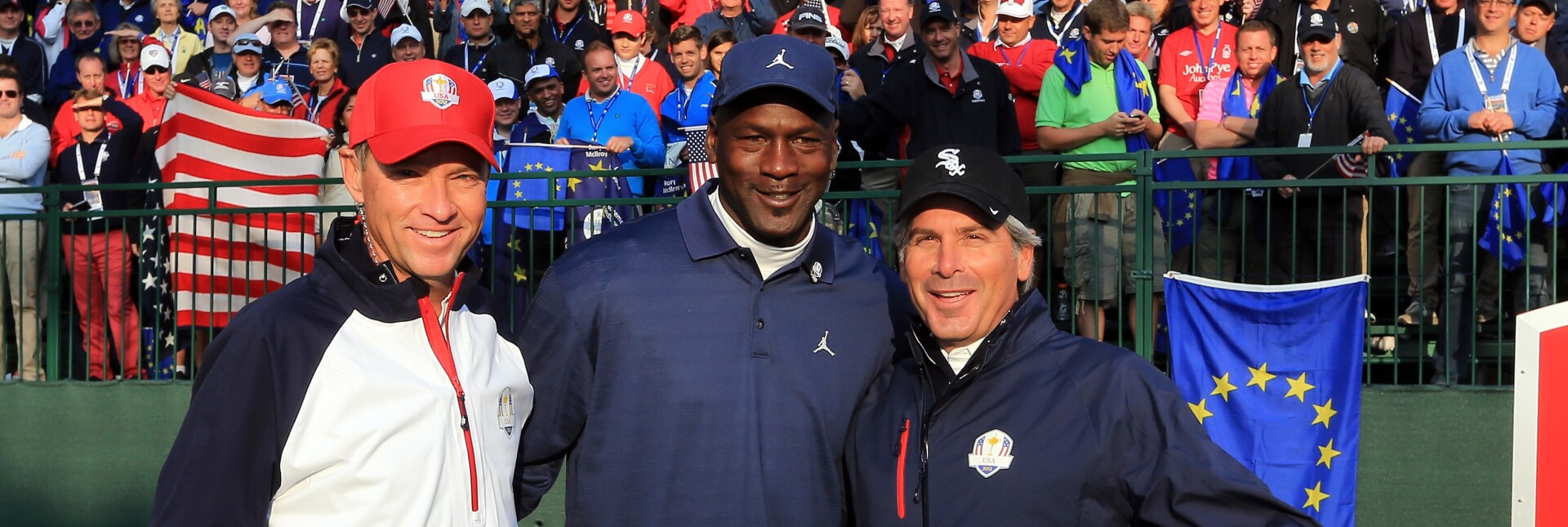 Davis Love III, Michael Jordan and Fred Couples at the Ryder Cup