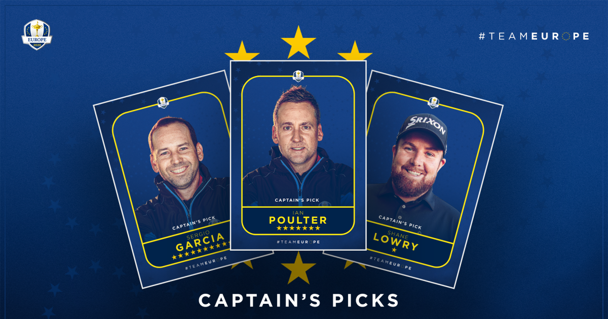 Pádraig Harrington selects Garcia, Lowry and Poulter to complete Team Europe - RyderCup.com